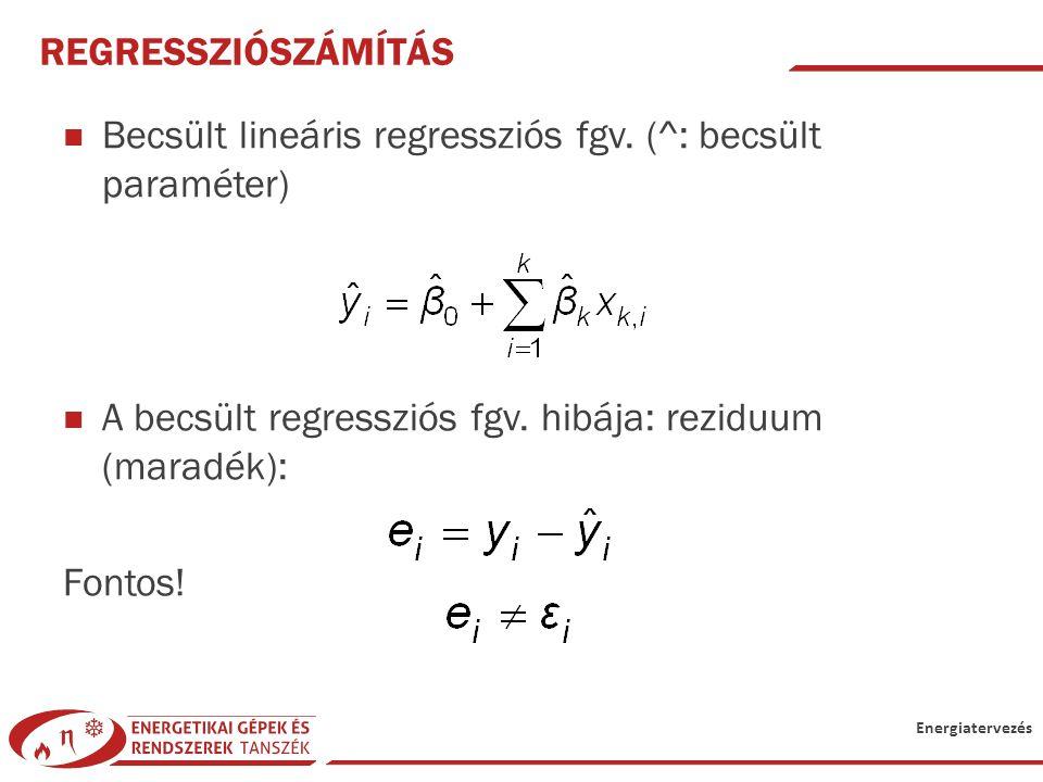 Energiatervezés REGRESSZIÓSZÁMÍTÁS Becsült lineáris regressziós fgv. (^: becsült paraméter) A becsült regressziós fgv. hibája: reziduum (maradék): Fon