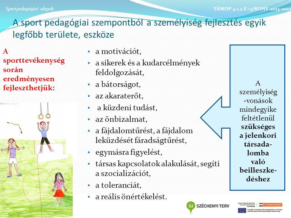 A sport pedagógiai szempontból a személyiség fejlesztés egyik legfőbb területe, eszköze A személyiség -vonások mindegyike feltétlenül szükséges a jelenkori társada- lomba való beilleszke- déshez A sporttevékenység során eredményesen fejleszthetjük: Sportpedagógiai alapok TÁMOP 4.1.2.E-13/KONV-2013-0010 a motivációt, a sikerek és a kudarcélmények feldolgozását, a bátorságot, az akaraterőt, a küzdeni tudást, az önbizalmat, a fájdalomtűrést, a fájdalom leküzdését fáradságtűrést, egymásra figyelést, társas kapcsolatok alakulását, segíti a szocializációt, a toleranciát, a reális önértékelést.