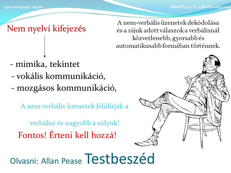 Olvasni: Allan Pease Testbeszéd Nem nyelvi kifejezés - mimika, tekintet - vokális kommunikáció, - mozgásos kommunikáció, Fontos.