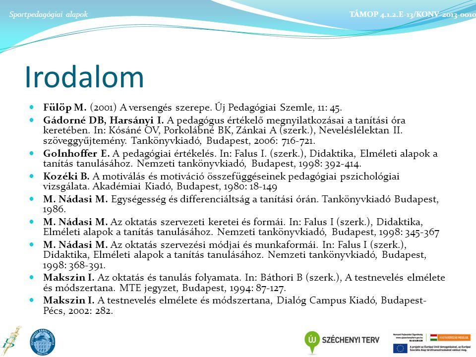 Irodalom Fülöp M.(2001) A versengés szerepe. Új Pedagógiai Szemle, 11: 45.