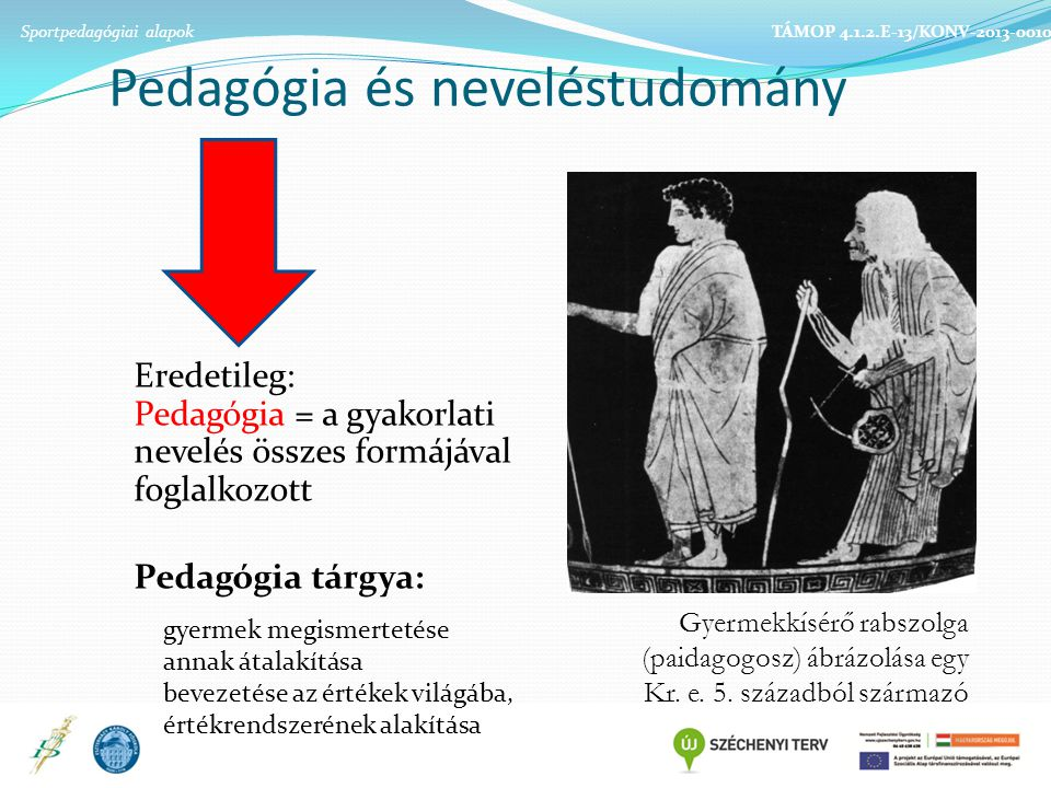 Pedagógia és neveléstudomány Gyermekkísérő rabszolga (paidagogosz) ábrázolása egy Kr.