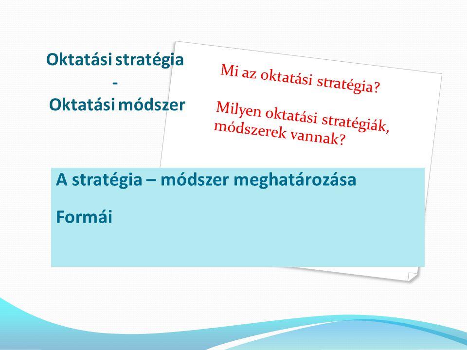 Oktatási stratégia - Oktatási módszer A stratégia – módszer meghatározása Formái Mi az oktatási stratégia.