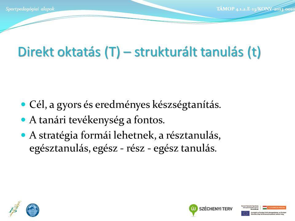 Direkt oktatás (T) – strukturált tanulás (t) Cél, a gyors és eredményes készségtanítás.