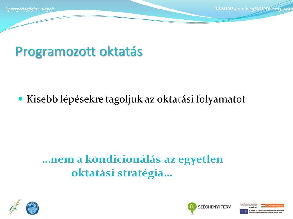 Programozott oktatás Kisebb lépésekre tagoljuk az oktatási folyamatot …nem a kondicionálás az egyetlen oktatási stratégia… Sportpedagógiai alapok TÁMOP 4.1.2.E-13/KONV-2013-0010