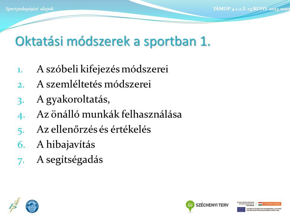 Oktatási módszerek a sportban 1.1. A szóbeli kifejezés módszerei 2.