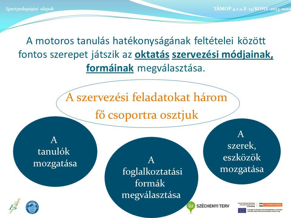 A motoros tanulás hatékonyságának feltételei között fontos szerepet játszik az oktatás szervezési módjainak, formáinak megválasztása.