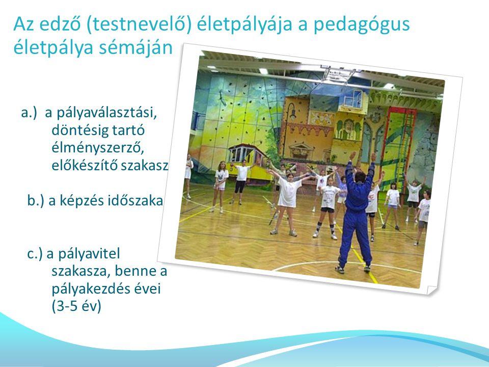 a.) a pályaválasztási, döntésig tartó élményszerző, előkészítő szakasz b.) a képzés időszaka c.) a pályavitel szakasza, benne a pályakezdés évei (3-5 év) Az edző (testnevelő) életpályája a pedagógus életpálya sémáján