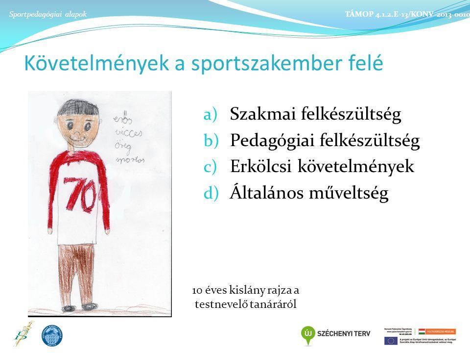 Követelmények a sportszakember felé a) Szakmai felkészültség b) Pedagógiai felkészültség c) Erkölcsi követelmények d) Általános műveltség Sportpedagógiai alapok TÁMOP 4.1.2.E-13/KONV-2013-0010 10 éves kislány rajza a testnevelő tanáráról