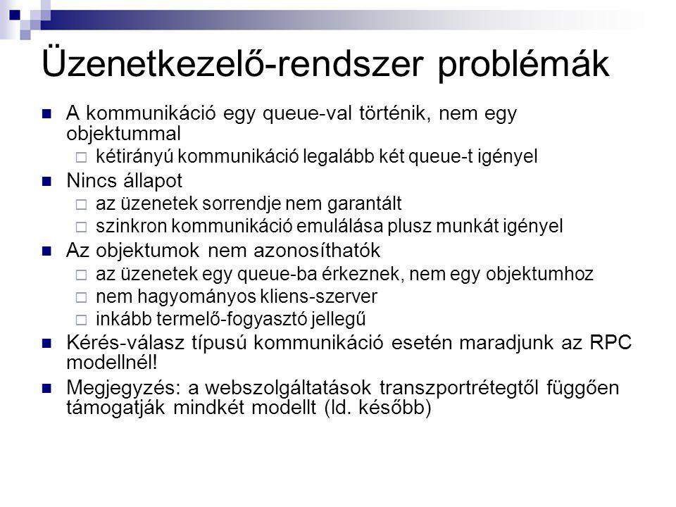 Üzenetkezelő-rendszer problémák A kommunikáció egy queue-val történik, nem egy objektummal  kétirányú kommunikáció legalább két queue-t igényel Nincs állapot  az üzenetek sorrendje nem garantált  szinkron kommunikáció emulálása plusz munkát igényel Az objektumok nem azonosíthatók  az üzenetek egy queue-ba érkeznek, nem egy objektumhoz  nem hagyományos kliens-szerver  inkább termelő-fogyasztó jellegű Kérés-válasz típusú kommunikáció esetén maradjunk az RPC modellnél.