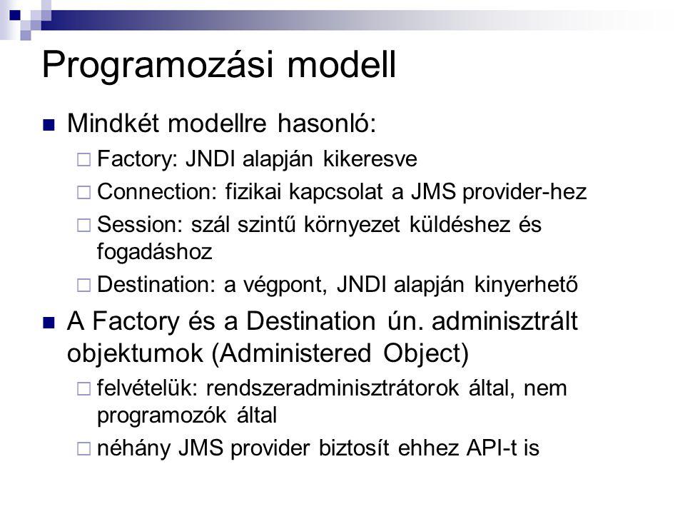 Programozási modell Mindkét modellre hasonló:  Factory: JNDI alapján kikeresve  Connection: fizikai kapcsolat a JMS provider-hez  Session: szál szintű környezet küldéshez és fogadáshoz  Destination: a végpont, JNDI alapján kinyerhető A Factory és a Destination ún.