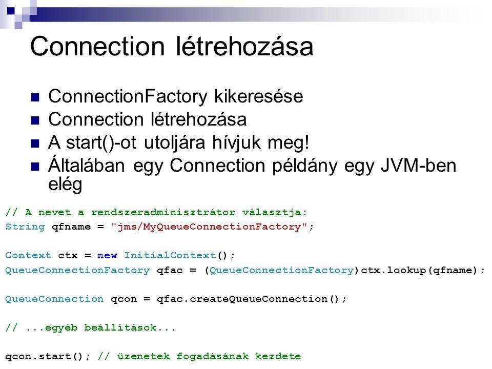 Connection létrehozása ConnectionFactory kikeresése Connection létrehozása A start()-ot utoljára hívjuk meg! Általában egy Connection példány egy JVM-
