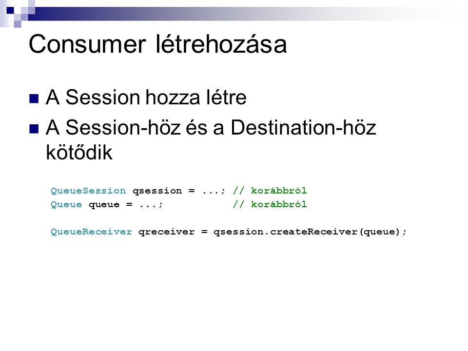 Consumer létrehozása A Session hozza létre A Session-höz és a Destination-höz kötődik QueueSession qsession =...; // korábbról Queue queue =...; // korábbról QueueReceiver qreceiver = qsession.createReceiver(queue);