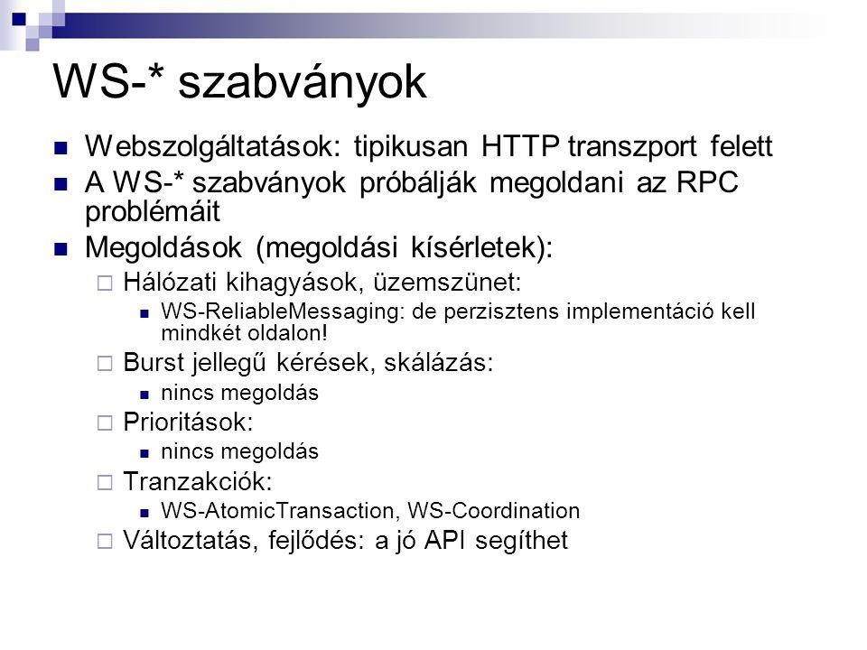 WS-* szabványok Webszolgáltatások: tipikusan HTTP transzport felett A WS-* szabványok próbálják megoldani az RPC problémáit Megoldások (megoldási kísérletek):  Hálózati kihagyások, üzemszünet: WS-ReliableMessaging: de perzisztens implementáció kell mindkét oldalon.