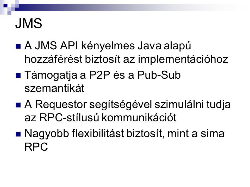 JMS A JMS API kényelmes Java alapú hozzáférést biztosít az implementációhoz Támogatja a P2P és a Pub-Sub szemantikát A Requestor segítségével szimulálni tudja az RPC-stílusú kommunikációt Nagyobb flexibilitást biztosít, mint a sima RPC