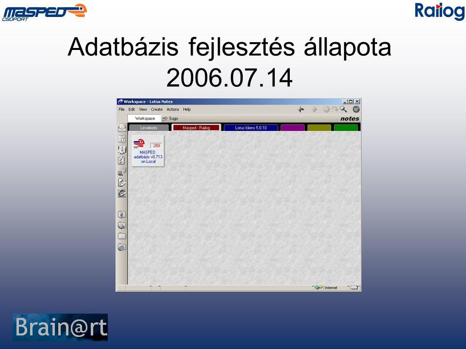 Adatbázis fejlesztés állapota 2006.07.14