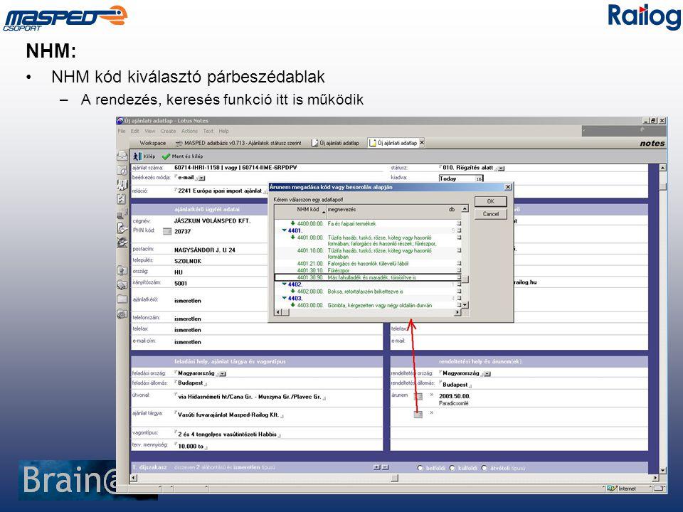 NHM: NHM kód kiválasztó párbeszédablak –A rendezés, keresés funkció itt is működik