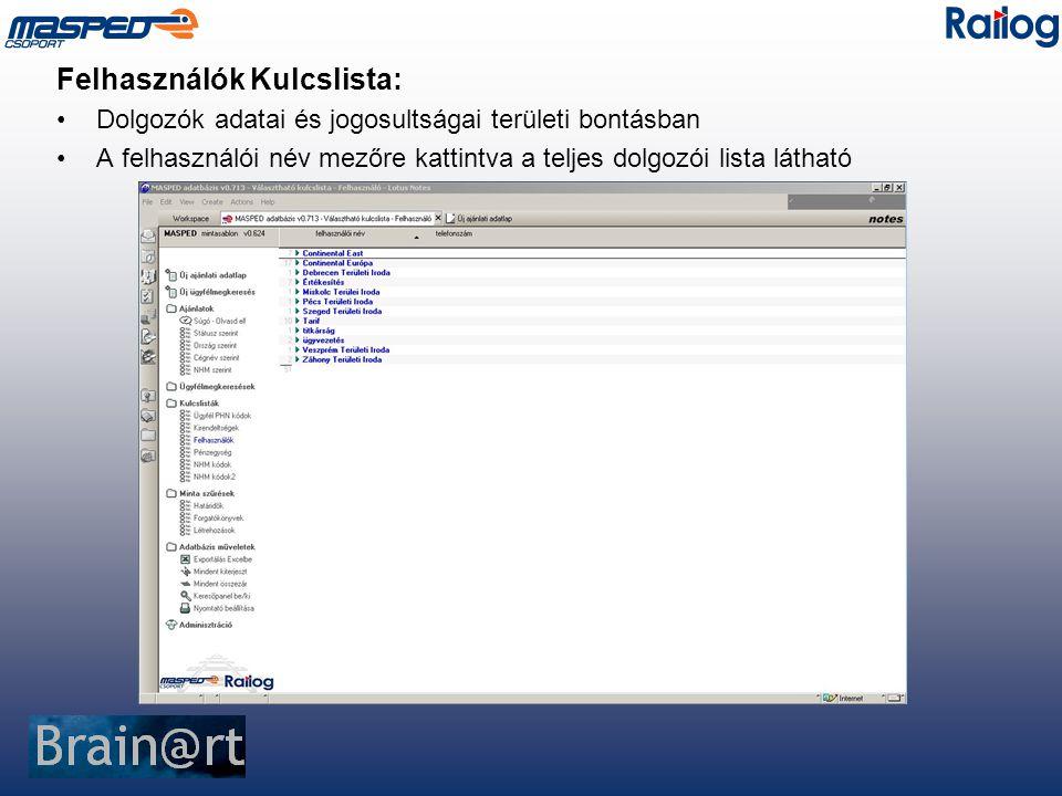 Felhasználók Kulcslista: Dolgozók adatai és jogosultságai területi bontásban A felhasználói név mezőre kattintva a teljes dolgozói lista látható