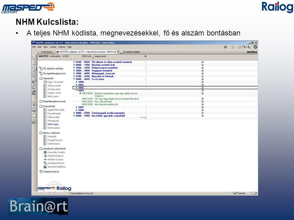 NHM Kulcslista: A teljes NHM kódlista, megnevezésekkel, fő és alszám bontásban