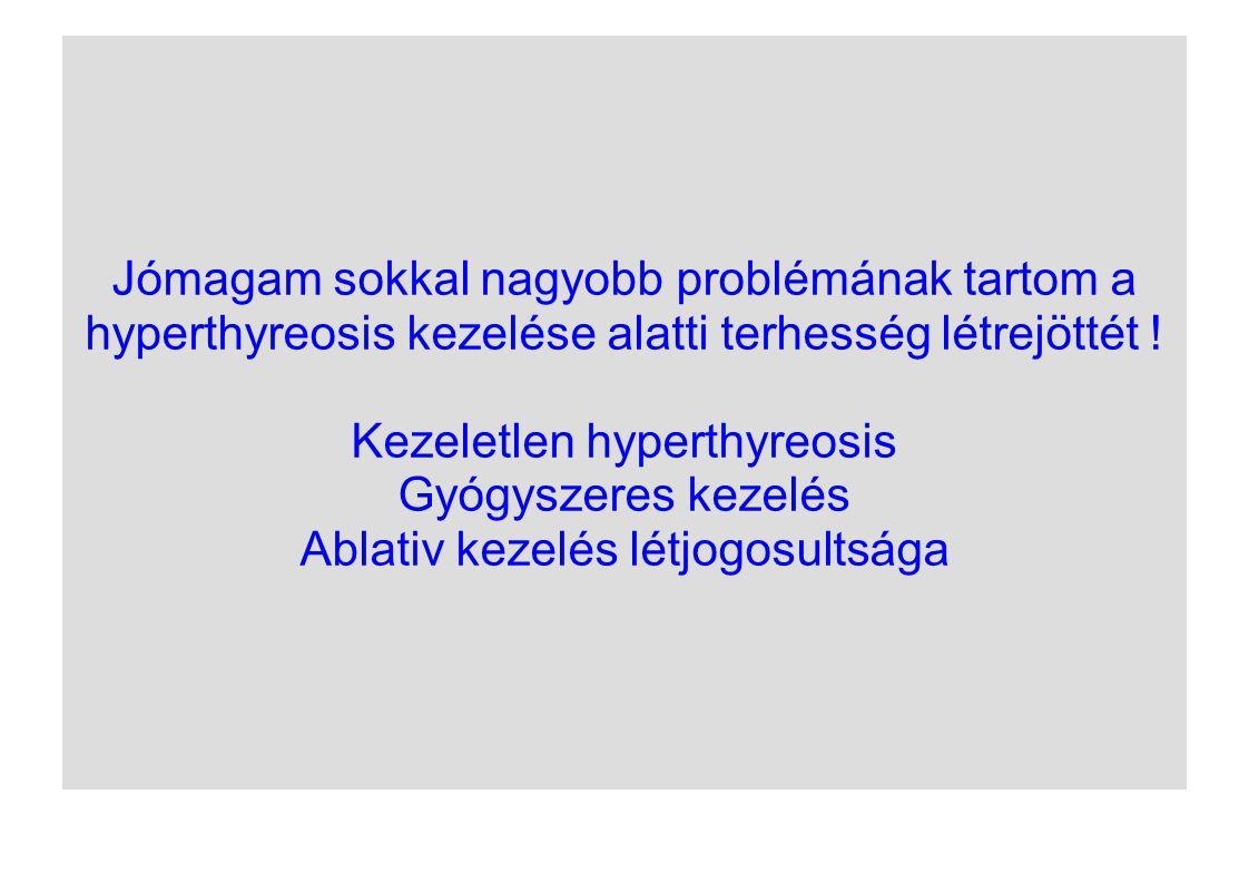 Jómagam sokkal nagyobb problémának tartom a hyperthyreosis kezelése alatti terhesség létrejöttét ! Kezeletlen hyperthyreosis Gyógyszeres kezelés Ablat