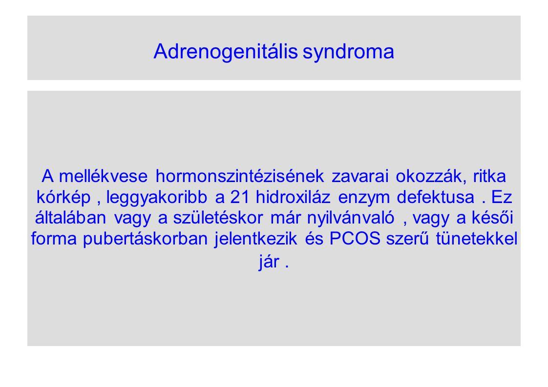 Adrenogenitális syndroma A mellékvese hormonszintézisének zavarai okozzák, ritka kórkép, leggyakoribb a 21 hidroxiláz enzym defektusa. Ez általában va