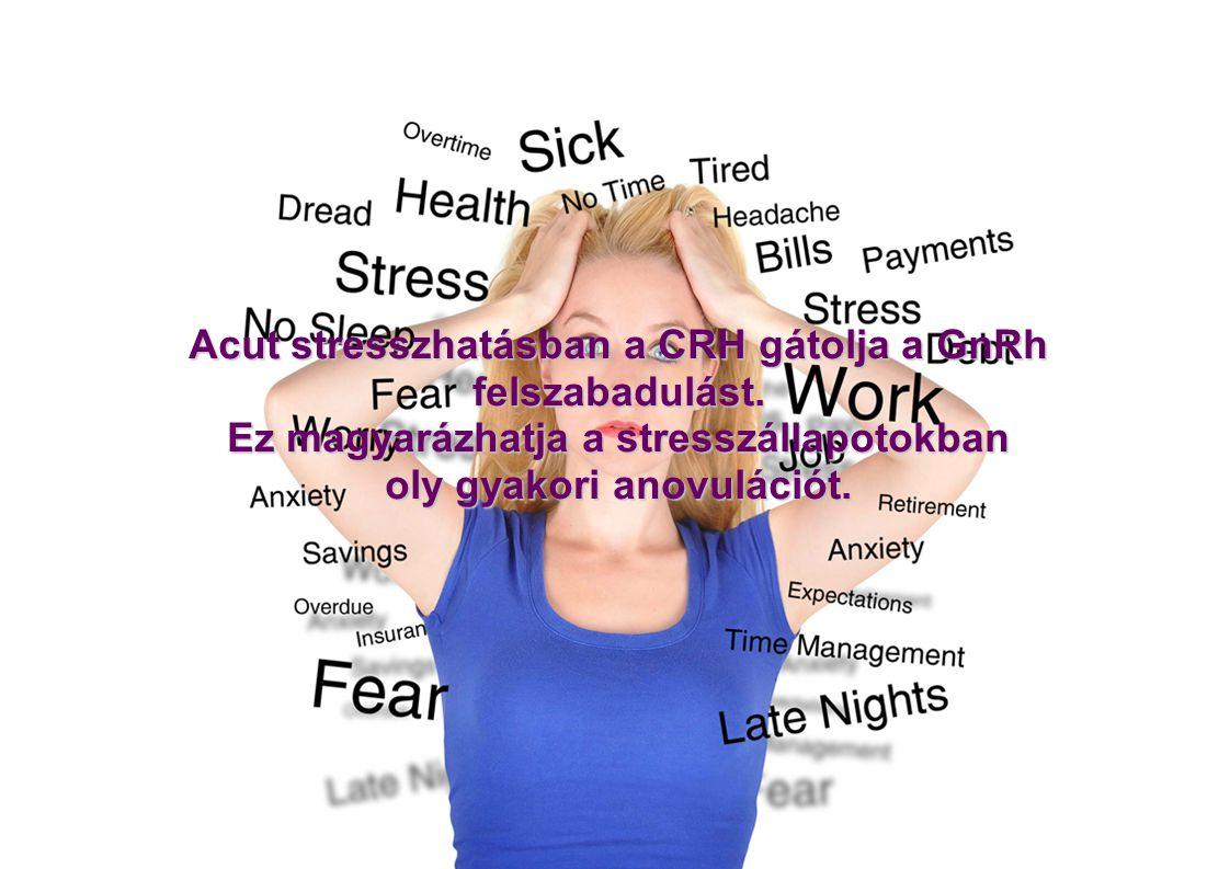 Acut stresszhatásban a CRH gátolja a GnRh felszabadulást. Ez magyarázhatja a stresszállapotokban oly gyakori anovulációt.