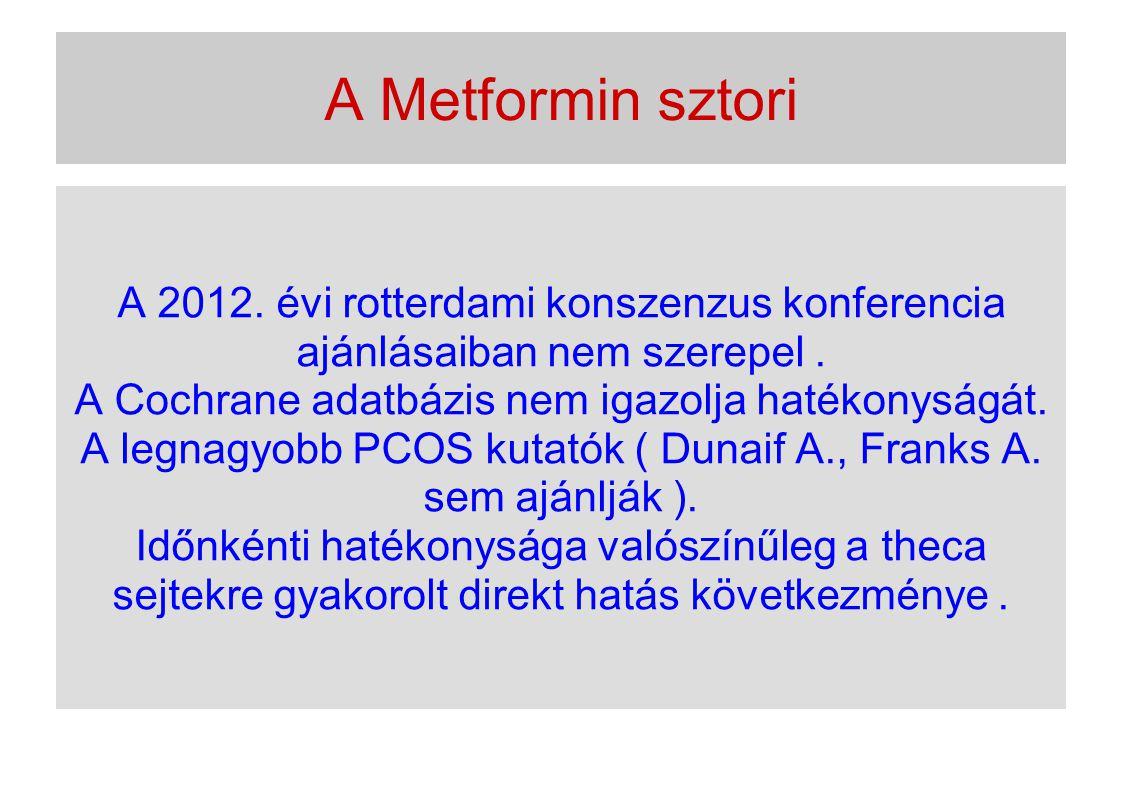 A Metformin sztori A 2012. évi rotterdami konszenzus konferencia ajánlásaiban nem szerepel. A Cochrane adatbázis nem igazolja hatékonyságát. A legnagy