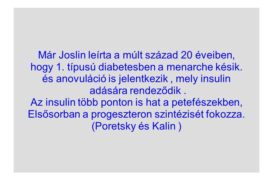 Már Joslin leírta a múlt század 20 éveiben, hogy 1. típusú diabetesben a menarche késik. és anovuláció is jelentkezik, mely insulin adására rendeződik