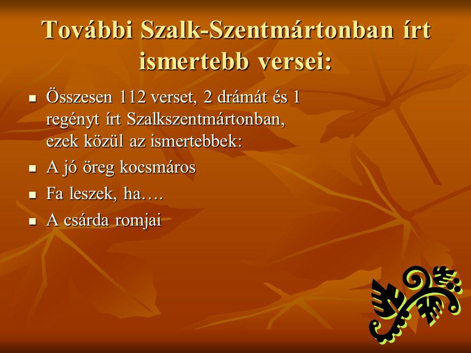 További Szalk-Szentmártonban írt ismertebb versei: Összesen 112 verset, 2 drámát és 1 regényt írt Szalkszentmártonban, ezek közül az ismertebbek: Össz