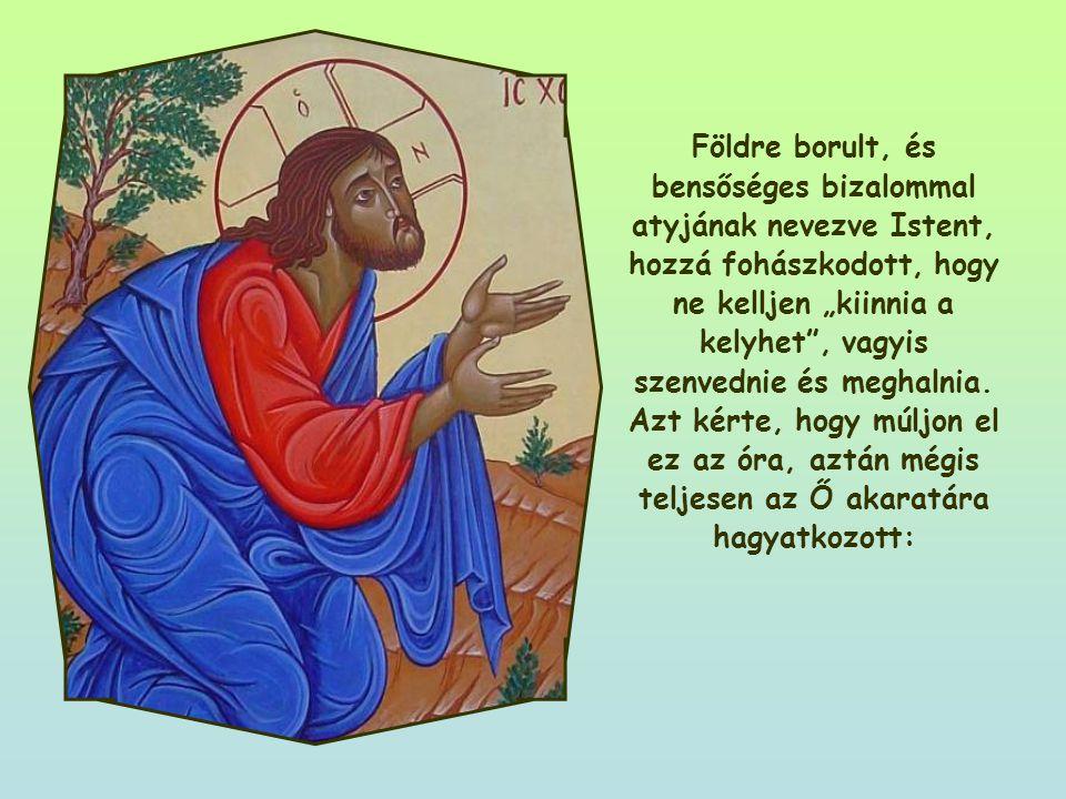 """Földre borult, és bensőséges bizalommal atyjának nevezve Istent, hozzá fohászkodott, hogy ne kelljen """"kiinnia a kelyhet , vagyis szenvednie és meghalnia."""
