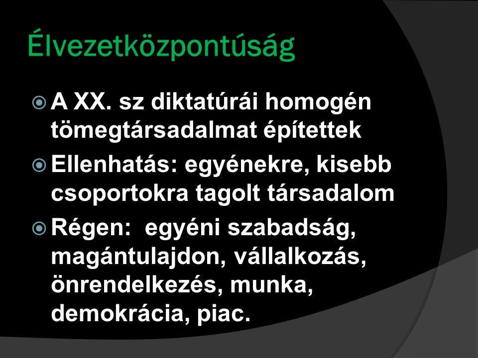 Élvezetközpontúság  A XX.