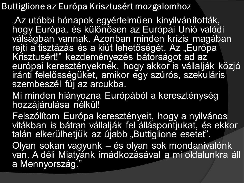 """Buttiglione az Európa Krisztusért mozgalomhoz """" Az utóbbi hónapok egyértelműen kinyilvánították, hogy Európa, és különösen az Európai Unió valódi válságban vannak."""