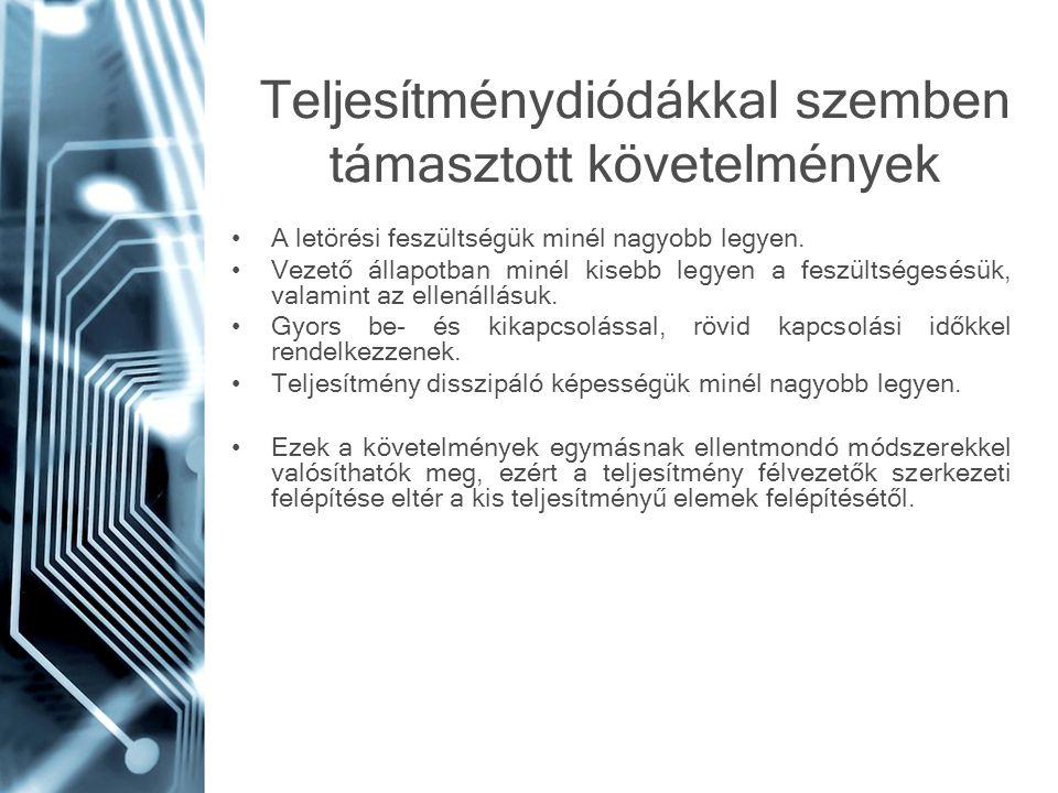 Teljesítménydiódákkal szemben támasztott követelmények A letörési feszültségük minél nagyobb legyen. Vezető állapotban minél kisebb legyen a feszültsé