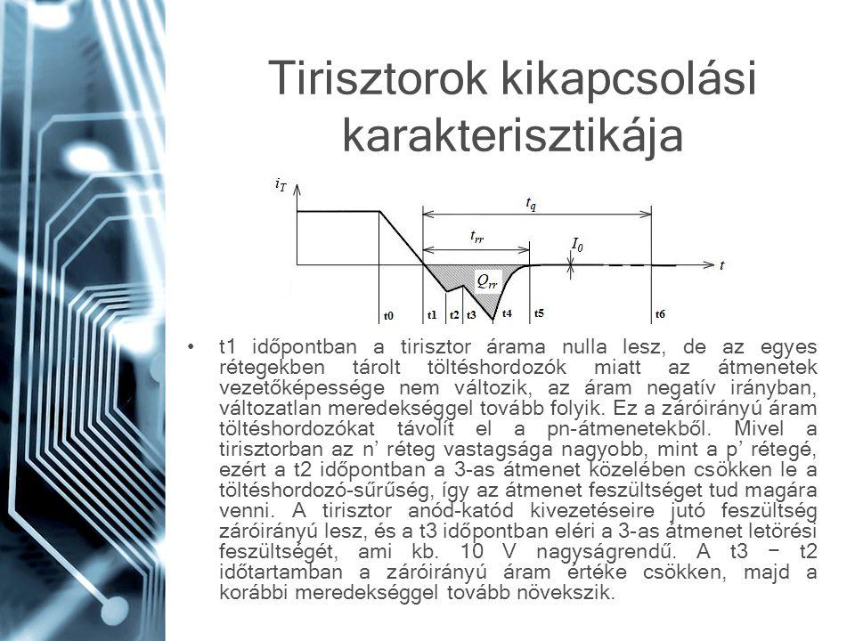 Tirisztorok kikapcsolási karakterisztikája t1 időpontban a tirisztor árama nulla lesz, de az egyes rétegekben tárolt töltéshordozók miatt az átmenetek
