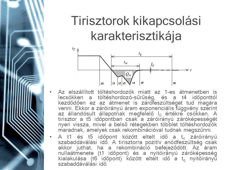 Tirisztorok kikapcsolási karakterisztikája Az elszállított töltéshordozók miatt az 1-es átmenetben is lecsökken a töltéshordozó-sűrűség, és a t4 időpo