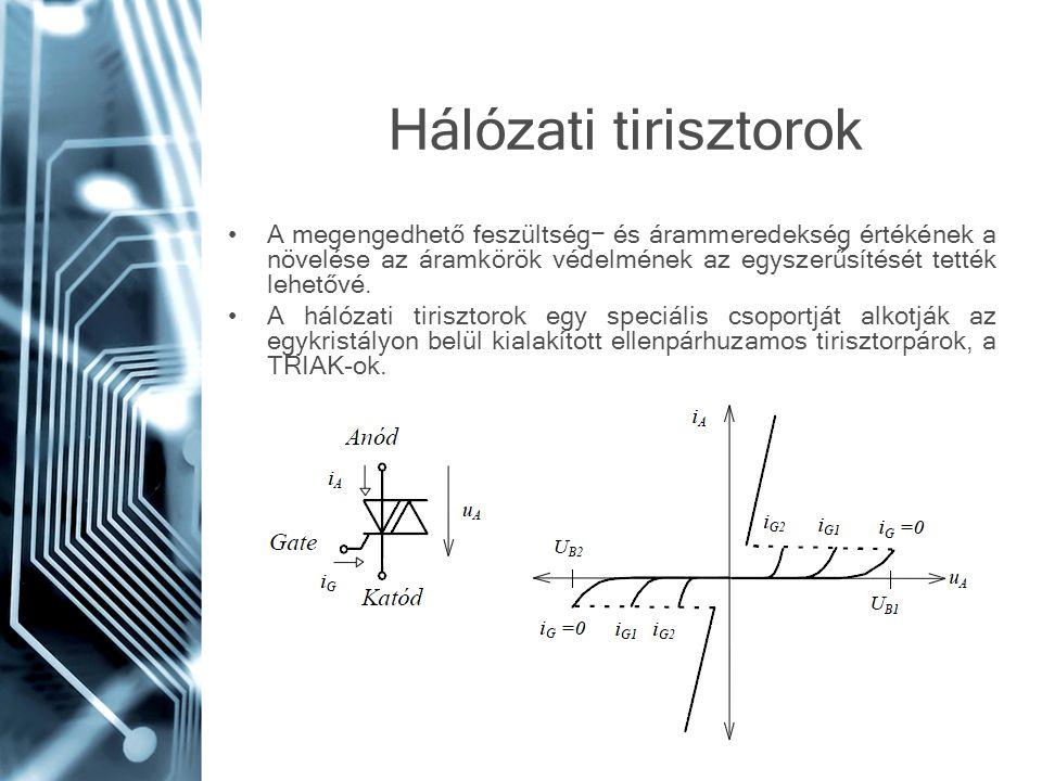 Hálózati tirisztorok A megengedhető feszültség− és árammeredekség értékének a növelése az áramkörök védelmének az egyszerűsítését tették lehetővé. A h