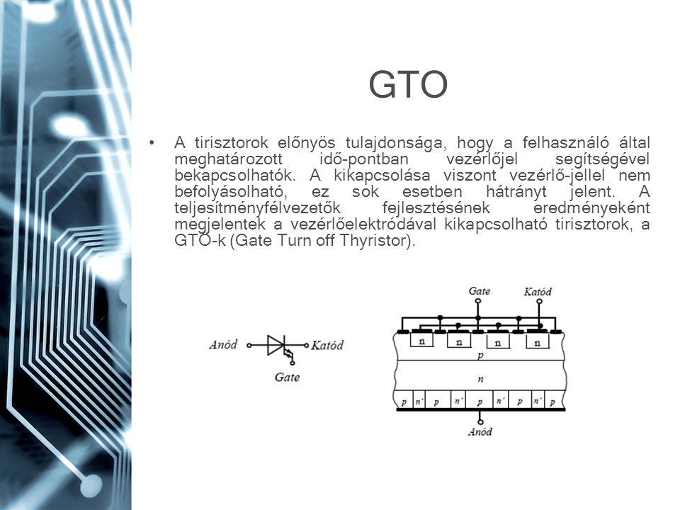 GTO A tirisztorok előnyös tulajdonsága, hogy a felhasználó által meghatározott idő-pontban vezérlőjel segítségével bekapcsolhatók. A kikapcsolása visz