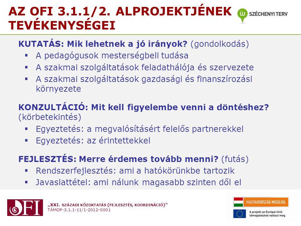 """""""XXI. SZÁZADI KÖZOKTATÁS ( FEJLESZTÉS, KOORDINÁCIÓ )"""" TÁMOP-3.1.1-11/1-2012-0001 AZ OFI 3.1.1/2. ALPROJEKTJÉNEK TEVÉKENYSÉGEI KUTATÁS: Mik lehetnek a"""