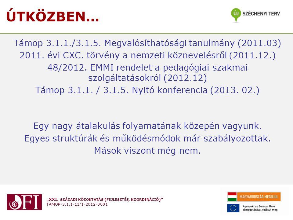 """""""XXI. SZÁZADI KÖZOKTATÁS ( FEJLESZTÉS, KOORDINÁCIÓ )"""" TÁMOP-3.1.1-11/1-2012-0001 ÚTKÖZBEN… Támop 3.1.1./3.1.5. Megvalósíthatósági tanulmány (2011.03)"""