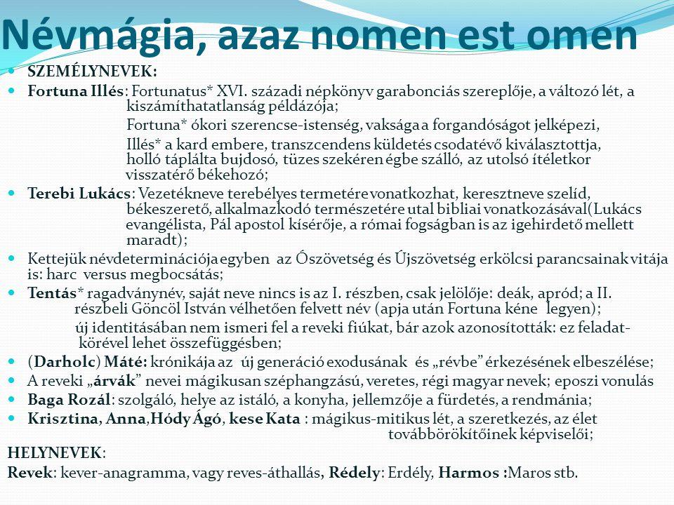 Névmágia, azaz nomen est omen SZEMÉLYNEVEK: Fortuna Illés: Fortunatus* XVI.