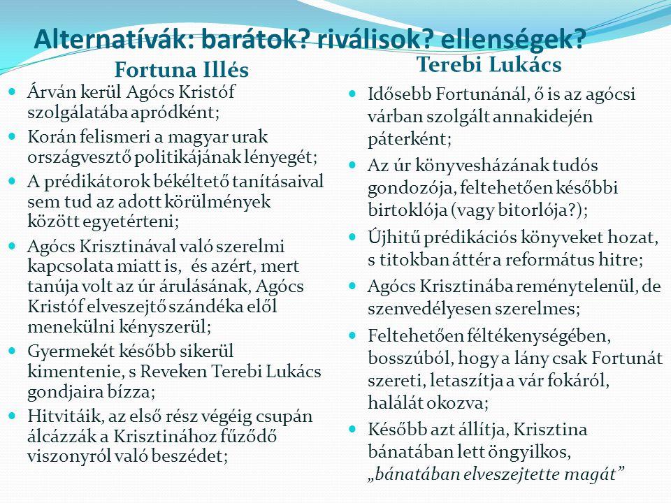 """Hatalom és kiszolgáltatottság A hódoltságbeli revekiek mindennapjait megkeseríti az a hatalom, amely bármikor elhurcolhatja a közösség tagjait váltságdíj fejében, adókat követelhet, állandó felügyelet alatt tartja a város lakóit, tilalmakkal sújtja őket; A revekiek az ellenhatalomnak, a végváraknak is adóznak titokban, abban a reményben, hogy majd őket is felszabadítják a török alól; A törököktől rettegett hajdúk szolgálatait is igénybe veszik jó pénzért, holott ezért is súlyos, akár halálos büntetés is járhat a törököktől, ha kitudódik; A hódoltságnak a kölcsönös bizalmatlanság a velejárója; A hatalom nehezen érti meg a béketűrő viszonyulást: """"híveid, s te magad egyre gyanakvóbbá teszitek azokat, akiket, úgy hiszitek, megvásároltatok."""
