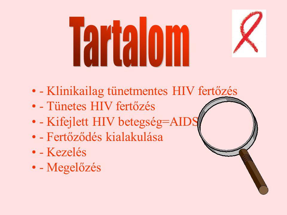 - Klinikailag tünetmentes HIV fertőzés - Tünetes HIV fertőzés - Kifejlett HIV betegség=AIDS - Fertőződés kialakulása - Kezelés - Megelőzés
