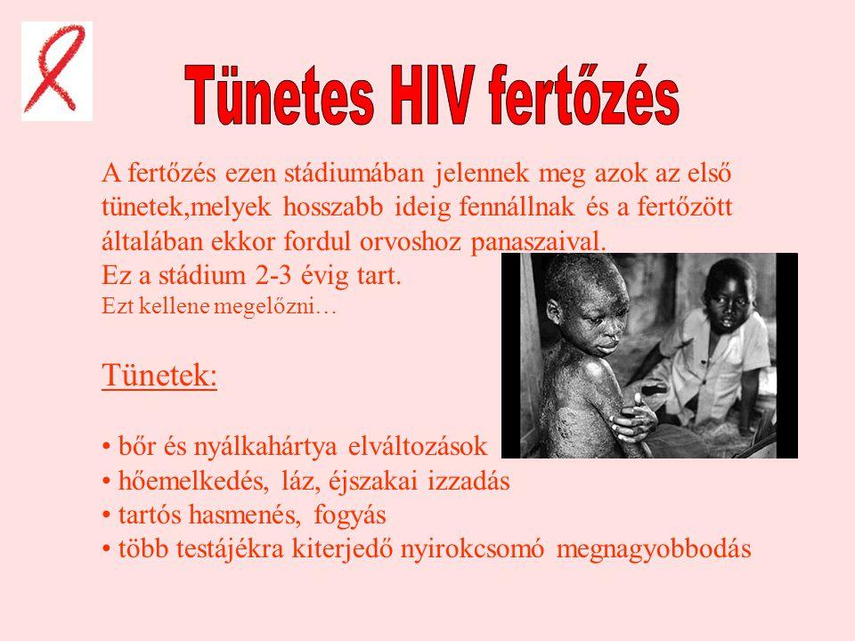 Ez a szakasz a fertőződés után következik.6-8,de néha 10 évig is eltarthat.A HIV f. innentől folyamatosan rombolja a szervezet védekező rendszerét ill