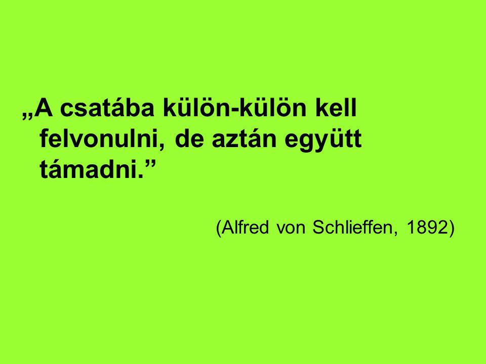 """""""A csatába külön-külön kell felvonulni, de aztán együtt támadni. (Alfred von Schlieffen, 1892)"""