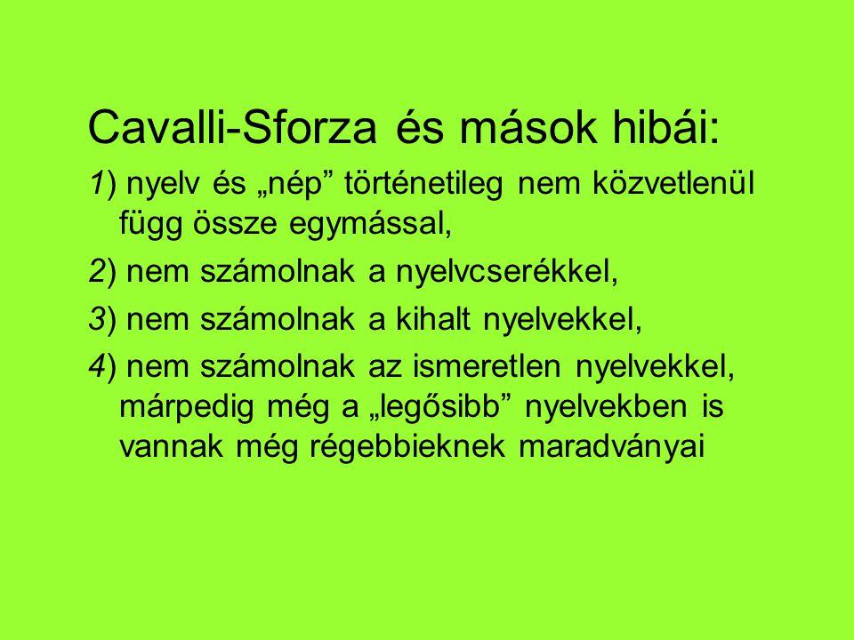 """Cavalli-Sforza és mások hibái: 1) nyelv és """"nép történetileg nem közvetlenül függ össze egymással, 2) nem számolnak a nyelvcserékkel, 3) nem számolnak a kihalt nyelvekkel, 4) nem számolnak az ismeretlen nyelvekkel, márpedig még a """"legősibb nyelvekben is vannak még régebbieknek maradványai"""