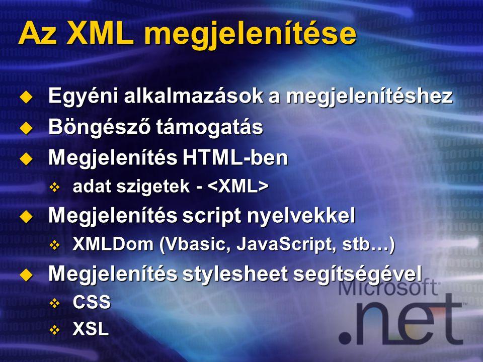 Az XML megjelenítése  Egyéni alkalmazások a megjelenítéshez  Böngésző támogatás  Megjelenítés HTML-ben  adat szigetek -  adat szigetek -  Megjelenítés script nyelvekkel  XMLDom (Vbasic, JavaScript, stb…)  Megjelenítés stylesheet segítségével  CSS  XSL