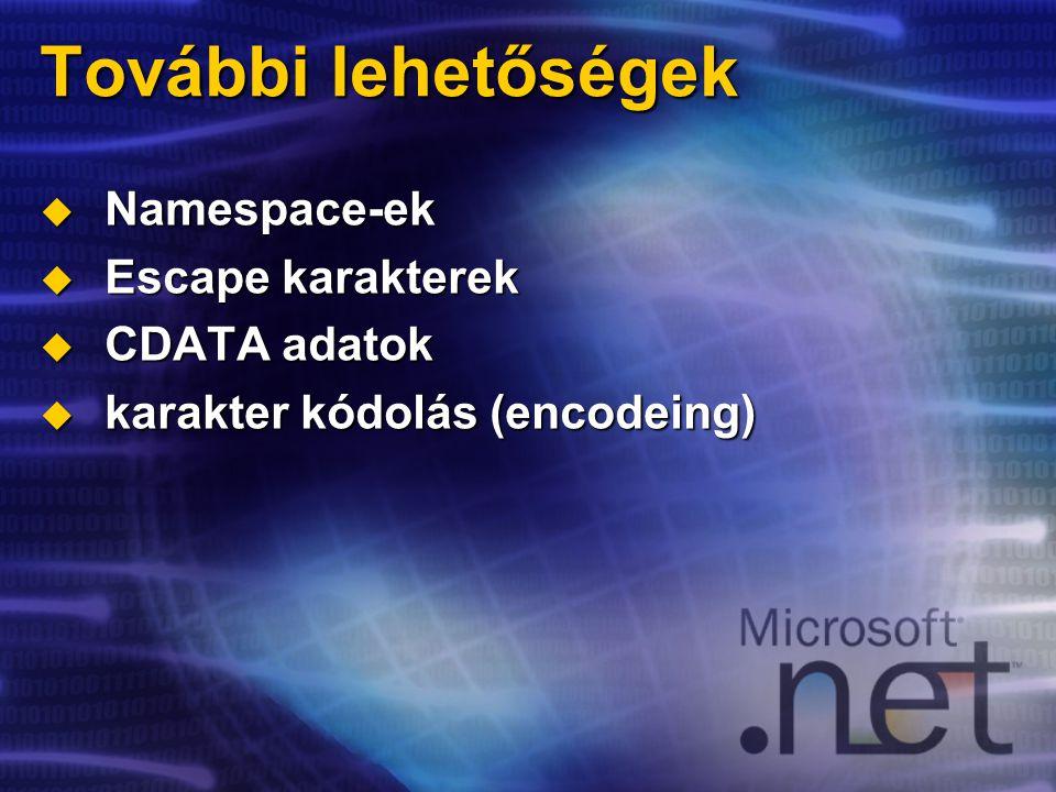 További lehetőségek  Namespace-ek  Escape karakterek  CDATA adatok  karakter kódolás (encodeing)