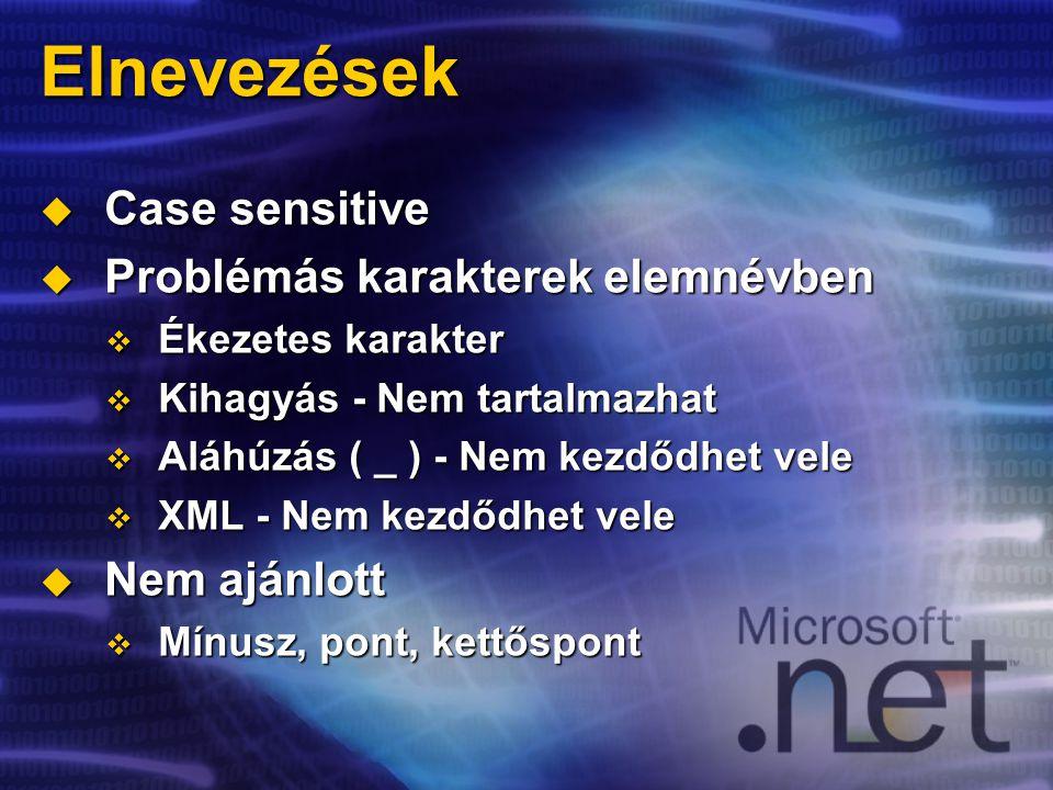 Elnevezések  Case sensitive  Problémás karakterek elemnévben  Ékezetes karakter  Kihagyás - Nem tartalmazhat  Aláhúzás ( _ ) - Nem kezdődhet vele  XML - Nem kezdődhet vele  Nem ajánlott  Mínusz, pont, kettőspont