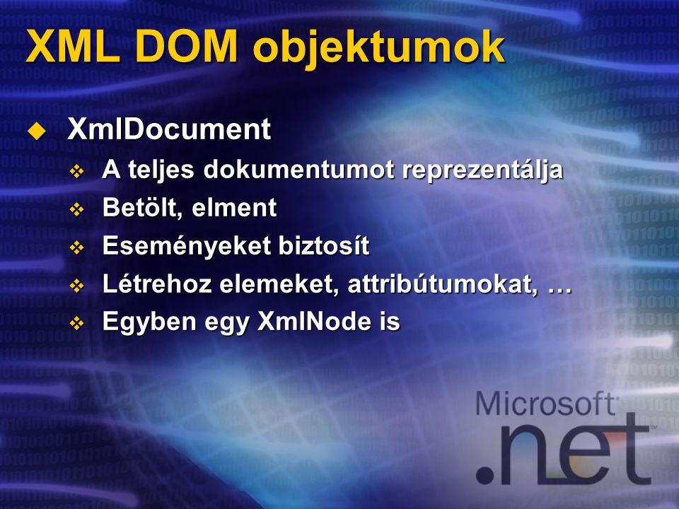 XML DOM objektumok  XmlDocument  A teljes dokumentumot reprezentálja  Betölt, elment  Eseményeket biztosít  Létrehoz elemeket, attribútumokat, …  Egyben egy XmlNode is