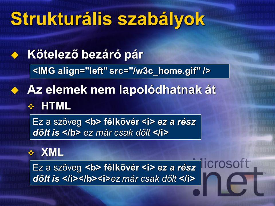 Strukturális szabályok  Kötelező bezáró pár  Az elemek nem lapolódhatnak át  HTML  XML Ez a szöveg félkövér ez a rész dőlt is ez már csak dőlt dőlt is ez már csak dőlt Ez a szöveg félkövér ez a rész dőlt is ez már csak dőlt dőlt is ez már csak dőlt