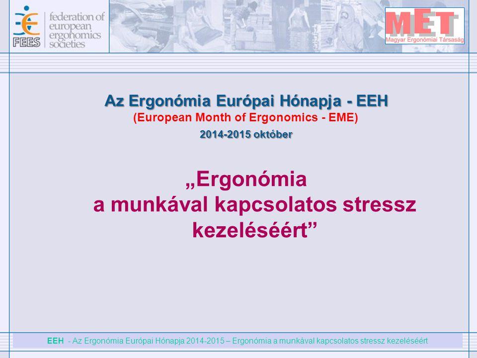 EEH - Az Ergonómia Európai Hónapja 2014-2015 – Ergonómia a munkával kapcsolatos stressz kezeléséért Az Ergonómia Európai Hónapja - EEH (European Month